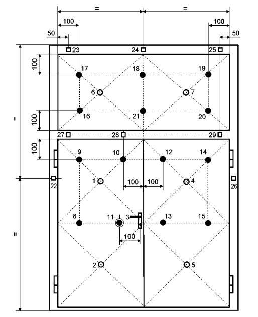 Конструкции строительные Противопожарные двери и ворота Метод  Рисунок 18 Схема установки термопар на необогреваемой поверхности распашной двупольной двери ширина полотен различная с фрамугой